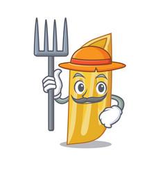 Farmer penne pasta character cartoon vector