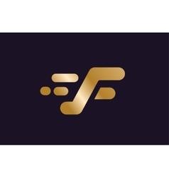 Fast line F letter logo monogram vector image