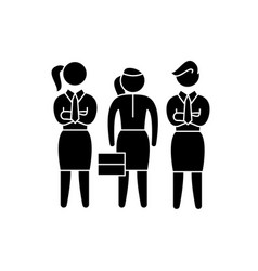 female employees black icon sign on vector image