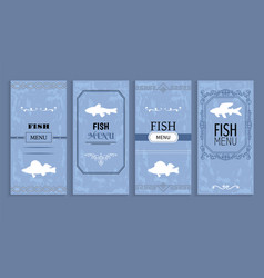 fish menu isolated on blue vector image