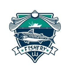 Fishery icon Fishing sport club sign vector image