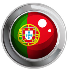 Flag of portogal in round badge vector