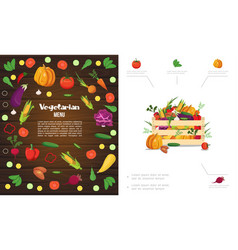 flat eco healthy food composition vector image