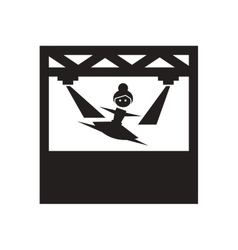 Flat icon in black and white ballerina vector