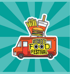 flat street food festival vector image