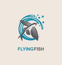Flying fish icon vector