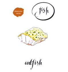 Fresh sea fish a piece roasted codfish vector