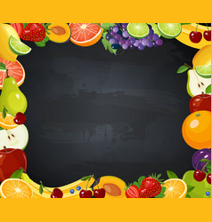 fruits frame with chalk blackboard vector image