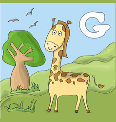 funny giraffe at the zoo cute animal alphabet for vector image