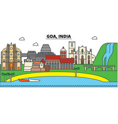 Goa india hinduism city skyline architecture vector