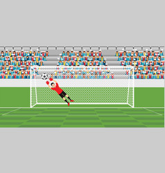 goalkeeper jumping to catch soccer ball vector image