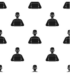 hacker icon in black style isolated on white vector image vector image
