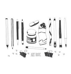 hand drawn art tools vector image