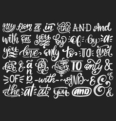 Handwritten catchwords and ampersands set vector