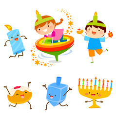 Hanukkah cartoons vector
