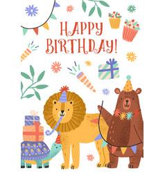 happy birthday invitation or greeting card vector image