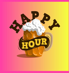 Happy hour design with a mug of draft beer vector