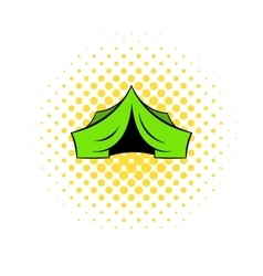 Hunting tent icon comics style vector image