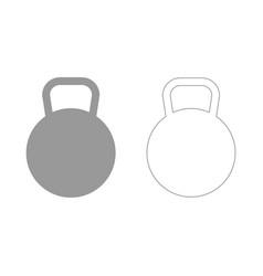 Kettlebell grey set icon vector