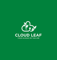 Leaf cloud tech logo design and business card vector
