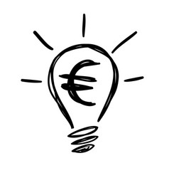 light bulb lamp with euro currency symbol vector image