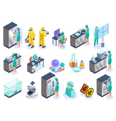 microbiology isometric icon set vector image