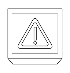 monochrome contour with frame with triangle vector image