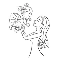 mother and daughter outline vector image