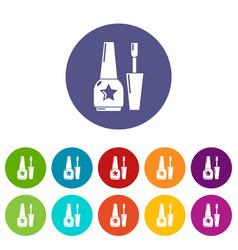 nail polish icons set color vector image