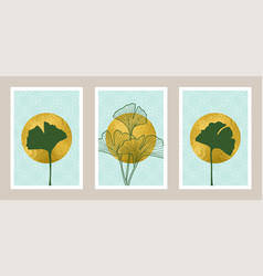 natural abstract botanical art set with gold foil vector image