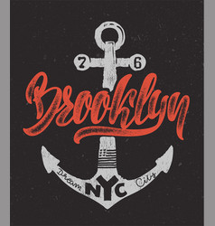 nautical design hand drawing brooklyn t-shirt vector image