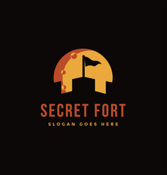 negative space fort castle in night logo icon vector image