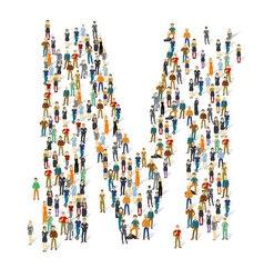 People crowd alphabet abc letter m vector
