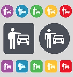 Person up hailing a taxi icon sign A set of 12 vector