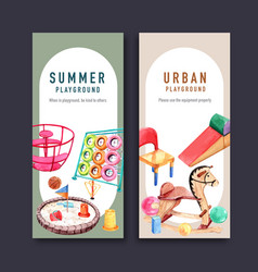 Playground flyer design with pail jungle gym vector
