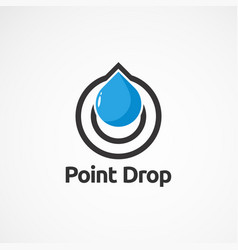 Point drop logo icon element and template for vector