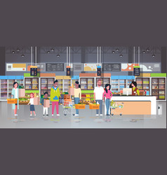 retail woman cashier at checkout supermarket mix vector image