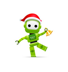 robot santa claus merry christmas happy new year vector image