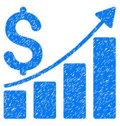 Sales growth chart grunge icon vector