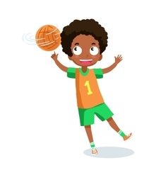 School boy playing basketball vector image