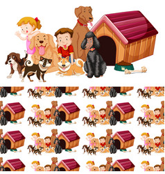 Seamless background design with kids and dogs vector