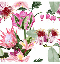 Seamless pattern background with feijoa blooming vector