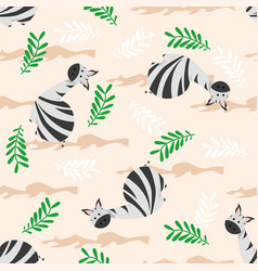 Seamless pattern with cute zebra vector