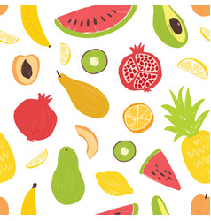 seamless pattern with exotic tropical fruits on vector image