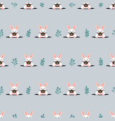 Seamless pattern with rabbits in respirators flat vector