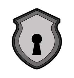 Security shield with shape hole isolated icon vector