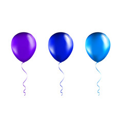 set blue and purple balloons on transparent vector image