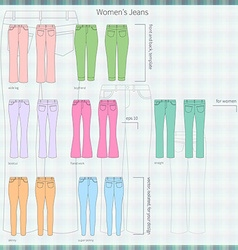 Set of jeans colors vector