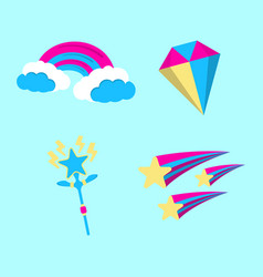 set of magic icon fantasy world of the unicorn vector image