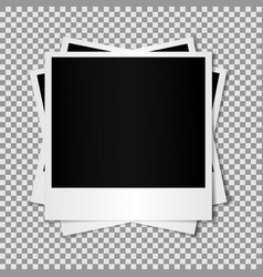 Set of mixed blank photo polaroid frame isolated o vector